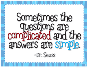 sometimes the questions are complicated and the answers are simple Dr. Seuss